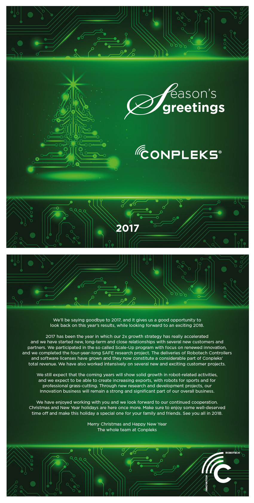 Seasons Greetings From Conpleks Christmas 2017 Innovation